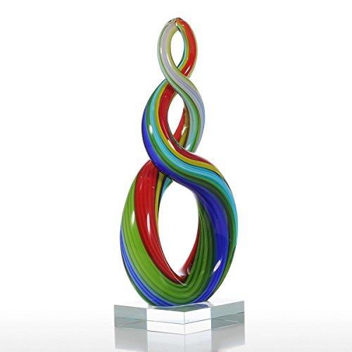 Tooarts Ornements circulaires en verre avec ruban de couleur pour la décoration intérieure Arc En Ciel