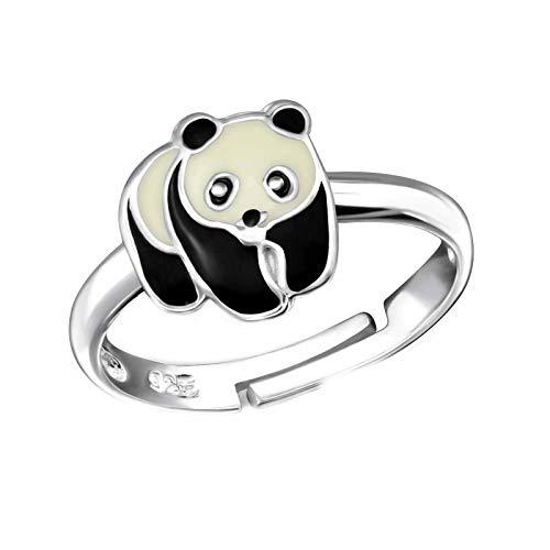 FIVE-D Kinder Ring Pandabär Grösse einstellbar aus 925 Sterling Silber im Schmucketui