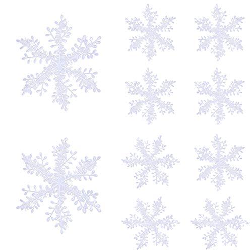 JieGuanG Adornos de copo de nieve, 36 piezas de decoración de copo de nieve, copos de nieve brillantes y esponjosos que te acompañan durante el invierno perfecto (6 cm, 8 cm, 11 cm, 15 cm)