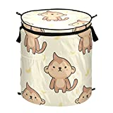 Cute Monkey Pop Up Laundry Hamper With Zipper Lid Foldable Laundry Basket With Handles Collapsible Storage Basket Clothes Organizer for Apartment Camping Picnic