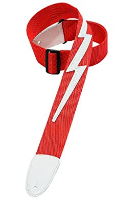 Red Guitar Strap w/ White Lightning Bolt
