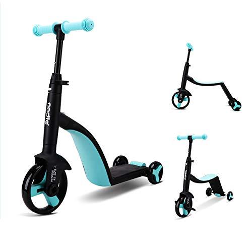 Zeroall 3 in 1 Monopattino Triciclo Bambini Balance Bike Trike per Bambini 2-6 Anni, Bicicletta Senza Pedali Leggere Triciclo a Pedali Scooter per Bambini Ragazzi Ragazze(Blu)