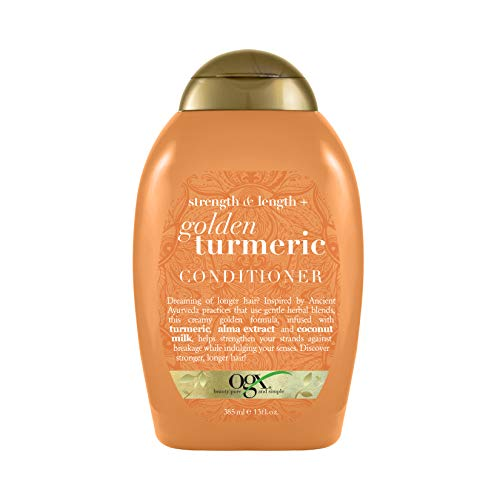 OGX Strength & Length + Golden Turmeric Conditioner with Coconut Milk to Soothe Scalp & Nourish Hair, Ayurveda Sulfate-Free Surfactants for Stronger & Longer Hair, 13 fl. oz