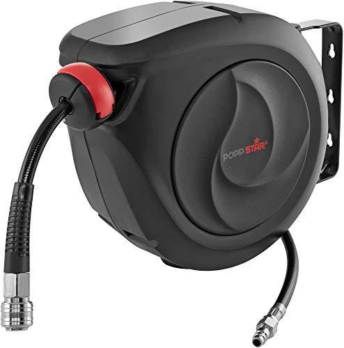 Poppstar Enrollador de manguera aire comprimido automático (manguera: 10 m...