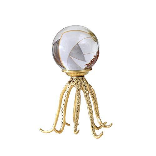 Bola de cristal de adivinación mirando Decoración de la bola de cristal transparente, puro titular de cobre pulpo, Nordic Oficina de la decoración del hogar de la bola de cristal, diámetro de la bola