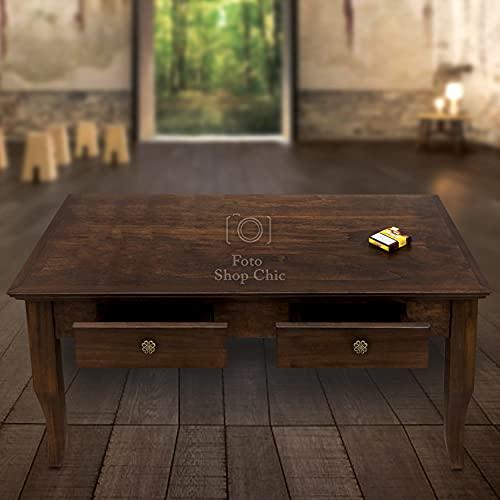 SHOP CHIC tavolino da Salotto in Legno Noce Stile Classico