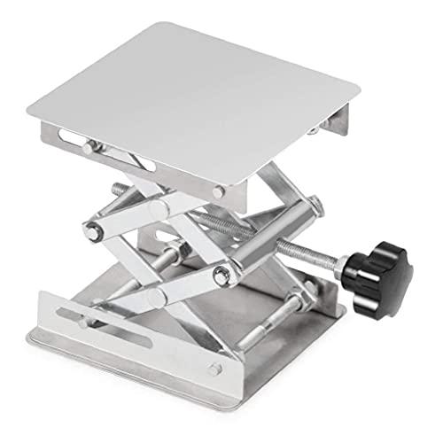 Laborschere Stand-Edelstahl-Lift-Stand-Tabelle 100x100mm Holzbearbeitungs-Plattform max. Höhe 160mm Silber