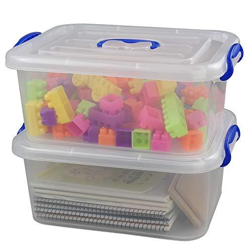 Eagrye 8 Quart Plastic Storage Latch Box, Clear Storage Bin Organizer with Handle, Set of 2