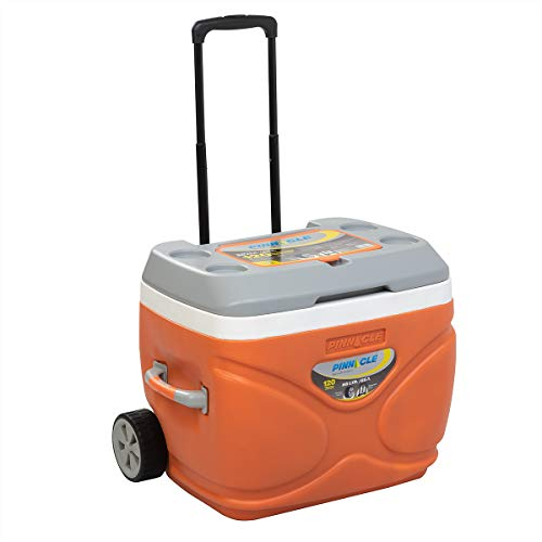 Prudence Large Ice Cooler Chest on Wheels, Orange Foam Ice Cooler for Party, Camping, Picnics, Portable Ice Chest, Plastic Beer Cooler Ice Chest, 69 qt