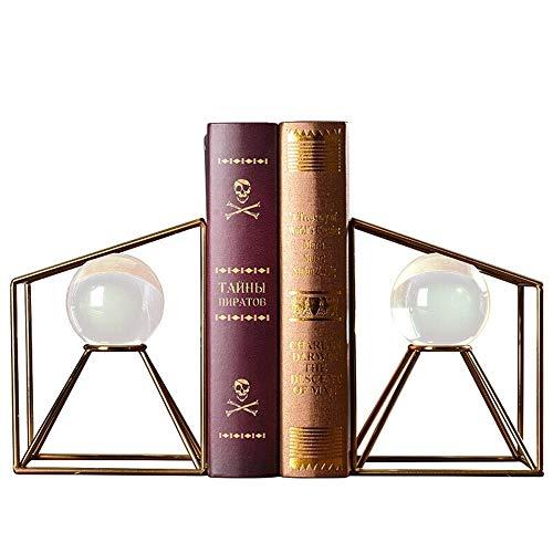 Lzcaure Bookend Crystal Ball Bookend europäischen Stil dekorative Metall-Dekoration Soft-Dekoration TV Schrank Study Crafts Einrichtung 20x15x11cm Buchstützen (Color : Gold, Size : One Size)