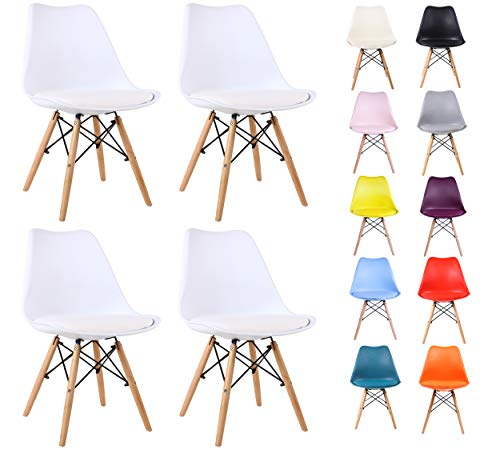 All About Chairs Silla, Cuero sintético, White, 4 pcs