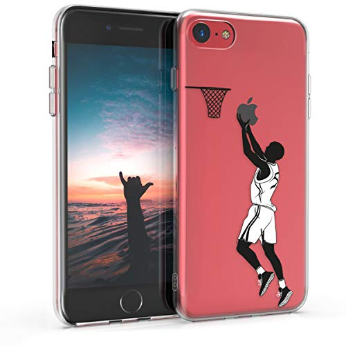 kwmobile Funda Compatible con Apple iPhone 7/8 - Carcasa de TPU y Jugador Baloncesto en Negro/Blanco/Transparente