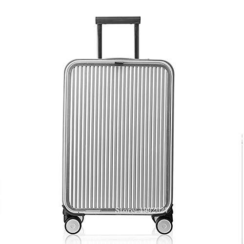 NDY ABS Hartschalen-Hold-Gepäck-Koffer Reise-Trolley 4 Rollen, erweiterbar Koffer mit TSA-Schloss (Color : Silver, Size : S)
