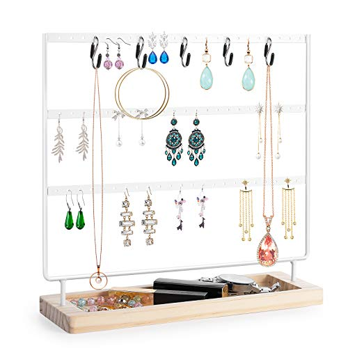 VERGILIUS Earring Holder Organizer Jewelry Display Stands Update Earring Organizer Stand Jewelry Holder Organizer Earring amp Necklace Jewelry Towel Organizer Display Tree White 3 Layers