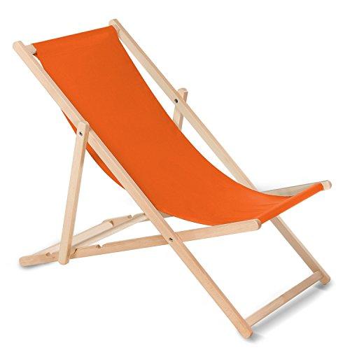 GreenBlue - Sedia a sdraio sedia a sdraio pieghevole in legno libro senza braccioli Lettino Sdraio (arancione)