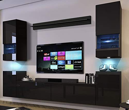 Home Direct Future 68, Modernes Wohnzimmer, Wohnwände, Wohnwand Wohnschränke, Wohnschrank Mediawand Schrankwand, Möbel schwarz 68/HG/B/1 (groß 1B, LED RGB 16 Farben)