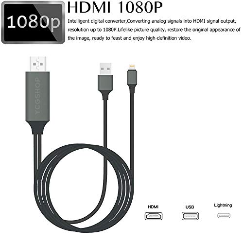 Hdmi Cable To Tv For Iphone Digital 1080p To 4k Hdtv Displayport Adapter 6 6ft Lighting Cable Cord Connector Compatible For Iphone Xs Max X 8 7 6