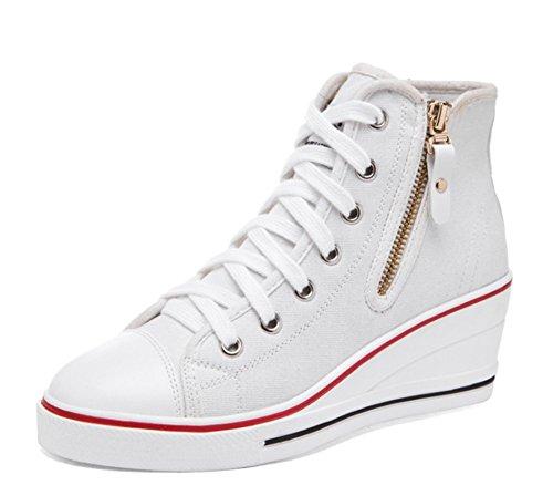 Wealsex Mujer Cuñas Zapatos De Lona Zapatos Casuales Encaje Hebilla Cremallera Lateral...
