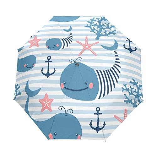 Jeansame Leuke Dolfijn Dier Oceaan Zeester Anker Schip Vouwen Compacte Paraplu Automatische Regen Paraplu's voor Vrouwen Mannen Kid Jongen Meisje