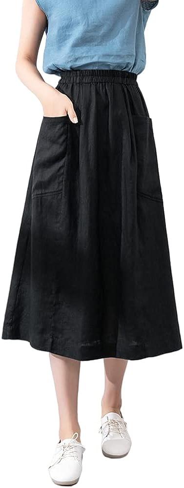 LUAN 100% Linen Skirt Casual Midi Skirt High Waist A Line Skirts with Pockets for Women