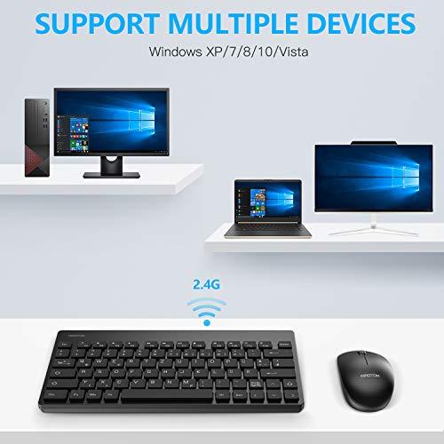OMOTON Tastatur Maus Set Kabellos, Deutsches Layout mit faltbaren Ständern, 2.4Ghz Wireless Tastatur und Maus Set mit USB-Empfänger für Windows XP / 7/8/10 / Vista, Schwarz…