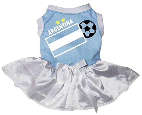 Petitebelle Hunde, Welpen, Kleidung, Argentinische Flagge und Fußball, blau-weißes Kleid