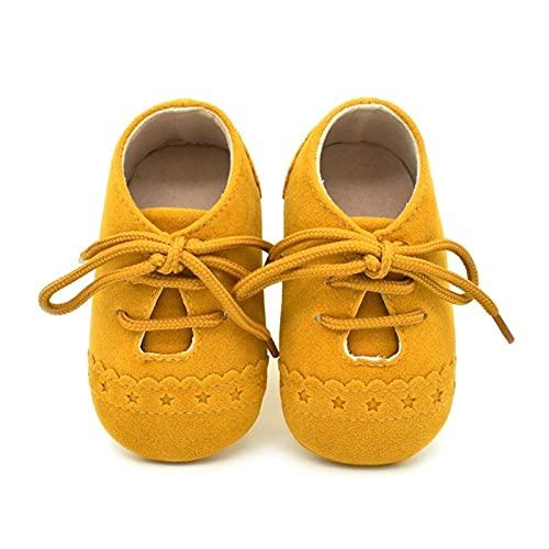 FURONGWANG6777BB Zapatos de bebé para niños y niñas, suela suave, zapatos de cuna recién nacido, casual, flores para primeros caminantes (color amarillo, tamaño: 0-6 meses)