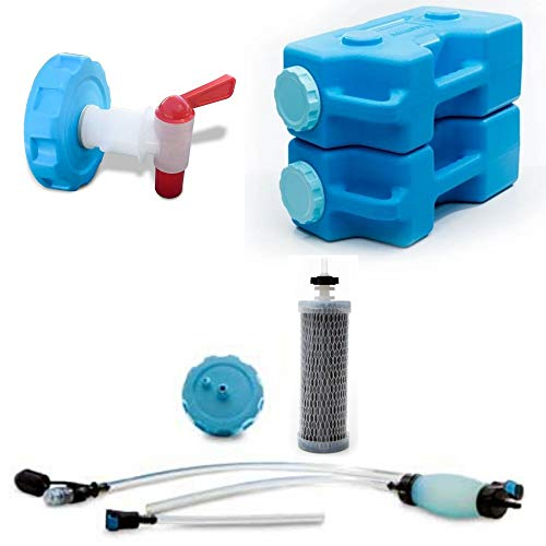 Emergency Drinking Water Kit - AquaBrick Water Purification System, 2 Containers & Spigot. Portable Water Filter for Camping, Survival, Purifies Tap Water, Removes Bacteria, Viruses, Protozoan, Lead