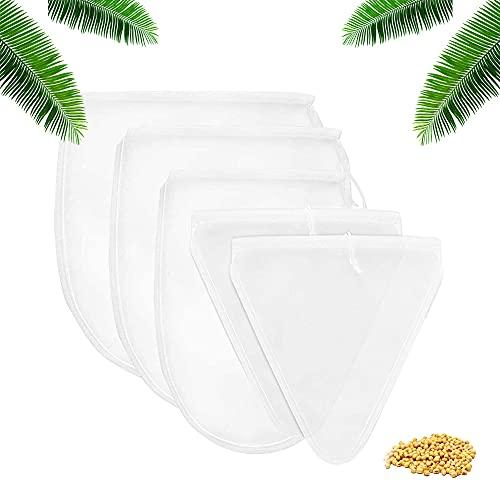 Gobesty 6 Stück Nussmilchbeutel, Vielseitiges Feinmaschiges Passiertuch, Nut Milk Bags, Filtertuch Waschbar für Milch Obstsaft Kaffee (2 Größen)