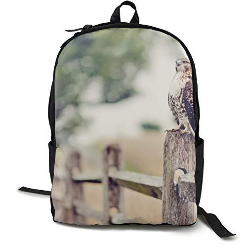 Rucksäcke College Schultasche Laptop Tagesrucksack Büchertasche Reisen Wandern Camping Tagesrucksack Falke Vogel Zaun Gras