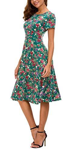 Vestido Estampado Floral de Mujer Cintura Alta Vestido a Media Pierna Manga Corta (S, 1)