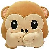 WUKONG99 33cm Mono Juguete Suave Emoji Emoticon Cojín Almohada Peluche Peluche Animal de dibujos animados Cojín (C)