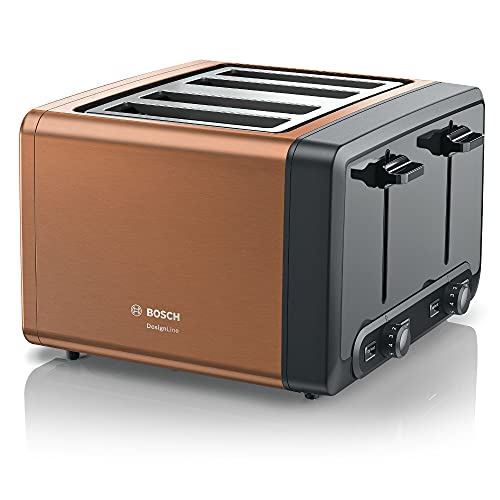 Bosch DesignLine Plus TAT4P449GB Stainless Steel 4 Slot Toaster - Copper