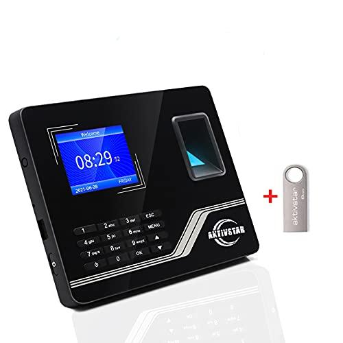 Aktivstar relojes para fichar de Asistencia Biométrica de Huella Dactilar con Sistema Española Pantalla LCD Memoria de 8GB, con Capacidad de 1000 Huellas de fichar ⭐