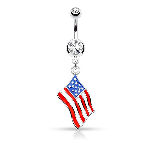 Pierced Owl National Country Flag Epoxy Dangle with Gem Dangle Belly Button Ring 14GA Navel Ring (Choose Country) (United States - USA)