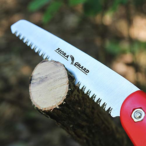 FLORA GUARD Folding Hand Saw, Camping/Pruning Saw with Rugged 7.7 Inch Blades Professional Folding Saw Razor Tooth Sharp Blade Solid Grip(Red)