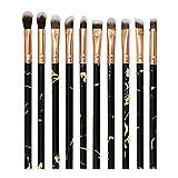 10 piezas de pinceles de maquillaje marmoleado conjunto de pinceles de basecorrector de sombra deojos profesional juego de pinceles derubor kit de herramientas de pincel de maquillaje - negro-b