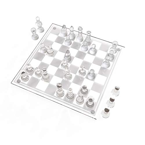 Trademark Games Glass Chess Set- Classic Game with Elegant Design, Durable Build- Set Includes Board, 32 Frosted & Clear Piece with Felt Bottoms