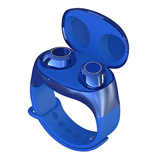 YRX Auriculares Bluetooth Estilo Muñeca Binaural TWS5.0 Compartimento De Carga Y Almacenamiento De Estilo Reloj Deportivo Inalámbrico Portátil,Azul,A