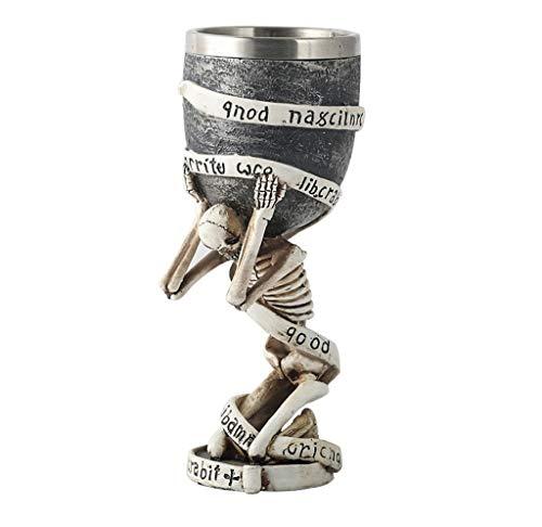 TOHOYOK Copa del cráneo 3D, Vidrio de Cerveza del cráneo Esclavo, Medieval Copa de Vino Vino cráneo, Copa de Vino Creativo, Resina + Forro de Acero Inoxidable, for la decoración de Halloween,
