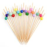 Bamboo Cocktail Skewers 4.7 Inch, Fancy Appetizer Toothpicks - Decorative Party, Appetizers, Drink, Fruit, Sandwich Picks for Wedding and Baby Shower. (Assorted Color Pearls, 100 Counts)