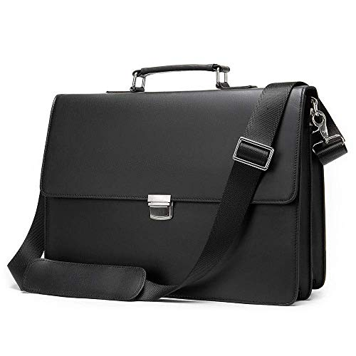 FENGLI Men's-Leather Business Briefcase, Casual/Soft Leather Bag 14 Inch Computer Handbag/Leather/Large Capacity/Oblique Cross/Notebook Case-Alloy Zipper/Clock (Color : Black)