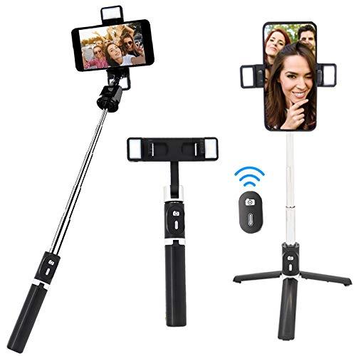 Palo selfie extensible y trípode en uno, trípode para smartphone con soporte para teléfono móvil y mando a distancia Bluetooth para iPhone, Samsung y cámara