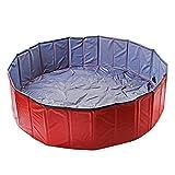 AYITOO Haustier Pool, Hundepool Schwimmbad für Hunde, Hundeplanschbecken Hundebad, Doggy Pool PVC-rutschfest, Faltbarer Haustier Pool Bade für Haustier Schwimmen Pool 120cm x30cm Rot