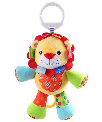 Happy Cherry-Jouet Pour Bébé Hochet Poussette Peluche D'éveil Doudou Premier âge avec anneau en forme d'animaux-Lion