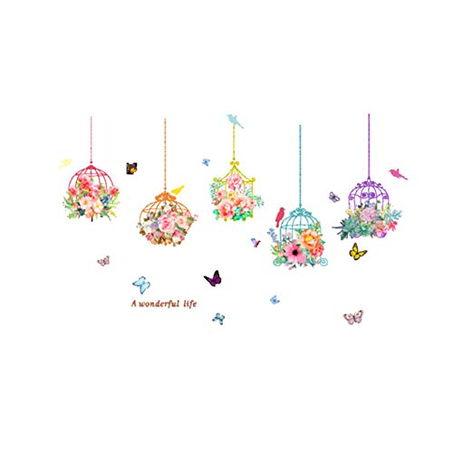 Ruiting Colorful Bird Cage Wall Decal Creative Wall Sticker for Bedroom,Living Room Removable Wall Art Paper