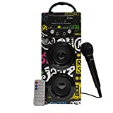 Biwond JoyBox Karaoke Altavoz 10W + Micrófono (Bluetooth TWS, Mando IR AUX, Radio FM, Tarjeta SD, USB, Pantalla LED) – Band
