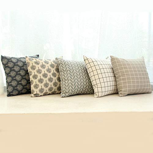 Ufamiluk 5er Set Kissenbezüge Geometrische Baumwolle und Leinen Kissenhülle Platz Gedruckt Blatt Dekoration Für Sofa Home Auto 45x45 cm