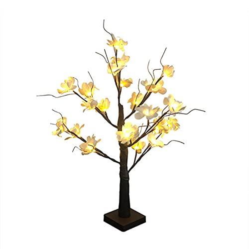 ALXFFBN Árbol de mesa iluminado con LED, lámpara de árbol de rama iluminada Kapok iluminada, árbol de bonsái artificial, soporte de flores, funciona con pilas, alambre de cobre luces de rama de árbol