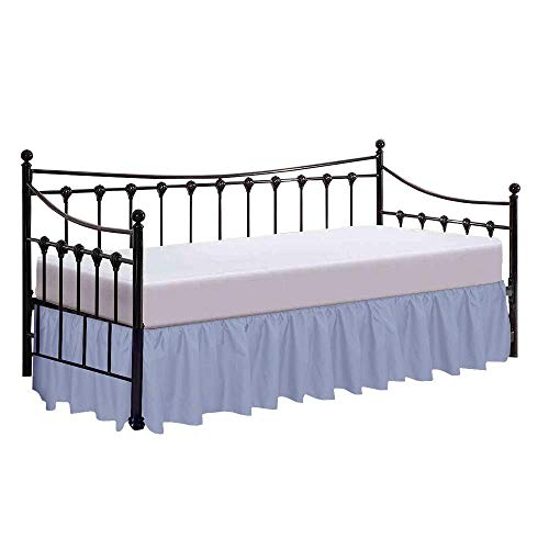 Sleepwell- Day Bed for Ruflled Bed Skirt - Split Corner - 35 cm Drop of Bed Skirt, Genuine Poly Cotton- Light Blue, Double Size